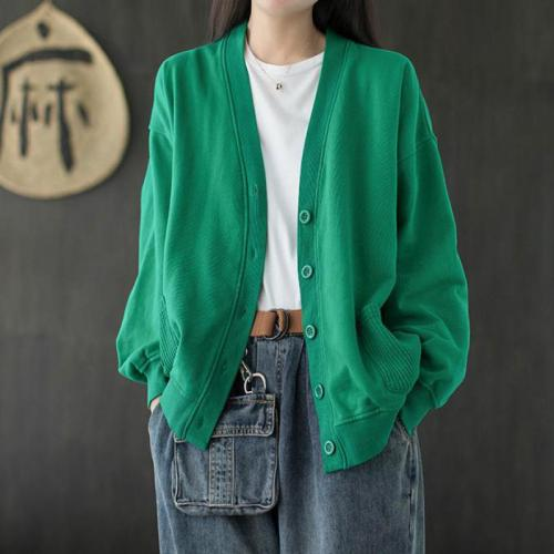 Loose Casual Solid Color Single Breasted Cotton Cardigan Coats 2021 Autumn Spring Simple Female Jackets V-neck