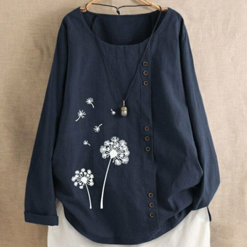 Spring Womens Long Sleeve Floral Shirt 2021 Ladies Autumn New Boho Baggy Blouse Women Loose Top Crew Neck Casual Daily Blouse