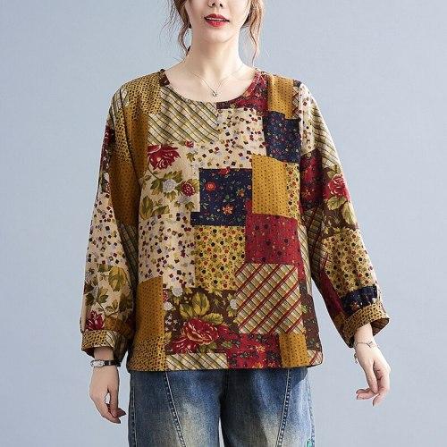 2021 New Arrival Long Sleeve Loose Autumn T Shirts Tops Print Floral Vintage Women T-shirt Cotton Linen All-match Spring T Shirt
