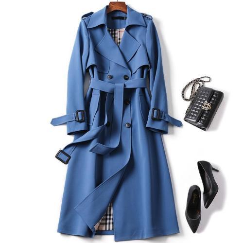 Women's Long Trench Coats 2021 New Autumn Lapel Double Breasted Slim Windbreaker Korean Elegant Belted Solid Coat Ladies Outwear