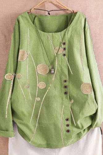 Plus Size Blouses Women Cotton Line Casual Floral Print Long Sleeve Button O-Neck Loose Shirt Top Elegant Blouse рубашка женская