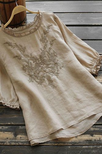 Embroidery Blouse Women Plus Size Loose Summer Tops Short Sleeve Solid Color O Neck Bottoming Cotton Tees Ladies Clothes