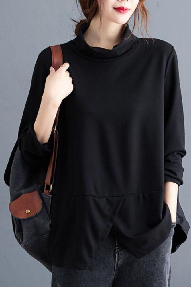 Oversized Women Autumn Long Sleeve T-shirt New 2020 Autumn Vintage Turtleneck Loose Comfortable Female Black Tops Shirts S1546