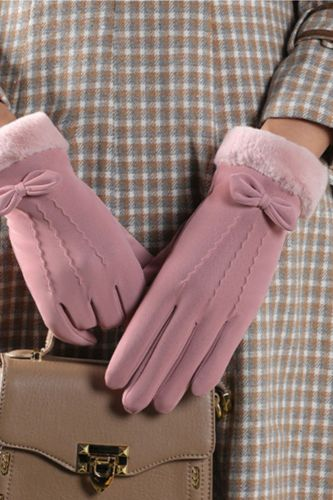 Winter Women Outdoor Cycling Cashmere Thicken Windproof Warm Gloves Cute Bow Velvet Waterproof Touch Screen Driving Mittens L26L