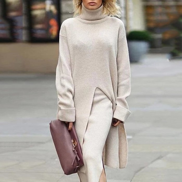Thumb Hole Cute Dress Woman Party Night Long Sleeve Side Split Clothes Sexy Ribbed Knitted Suits Khaki Maxi Vestidos