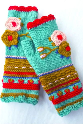 Ins Autumn And Winter Women'S Thick Needles, Hand Crocheted Flowers, Adult Warm Knitted Gloves, Embroidered Woolen Gloves