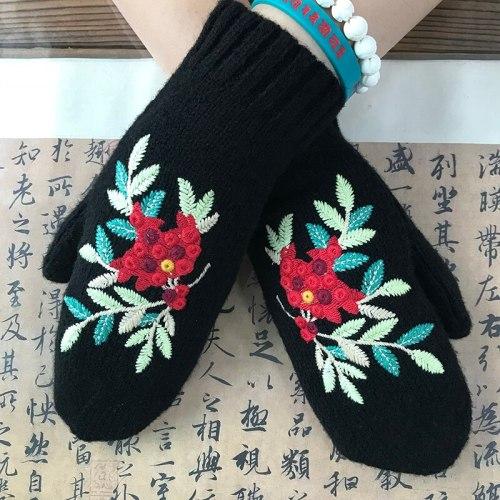 Autumn and Winter Women's Red Bean Embroidered Mittens Retro warm Black Floral Girls Woolen Gloves