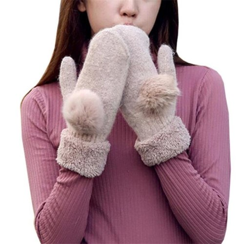 Warm Candy Color Double Layer Thick Female Gloves Cashmere Mittens Women Girl Winter Gloves Pure Color Rabbit Fur Soft