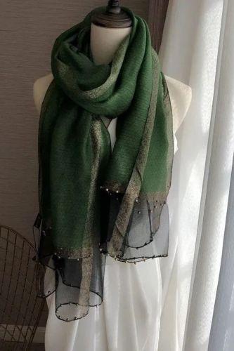 Luxury brand women scarf luxury summer silk scarves lady shawl wrap hijab foulard female bandana pashmina Pearl jewel headband