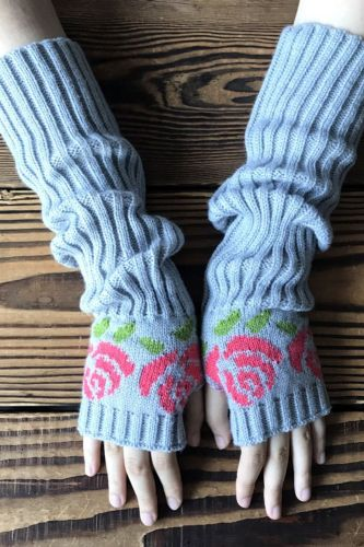 Ins Autumn And Winter Long Rose Knit Half-Finger Gloves, Spot Jacquard Warmth-Arm Ladies Wool Gloves