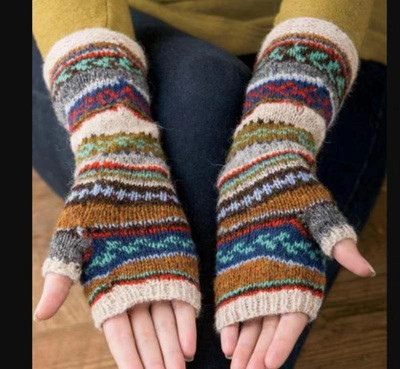 Knitted gradient color half-finger gloves female autumn and winter cute cartoon Korean version of the warmth fingerless back knitted gloves