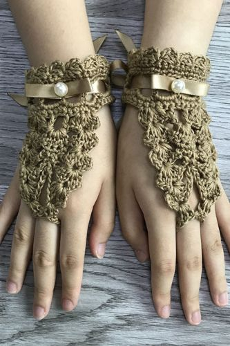 Autumn New Style Women'S Retro Handmade Crochet Knitted Gloves, Decorative Apparel Gloves