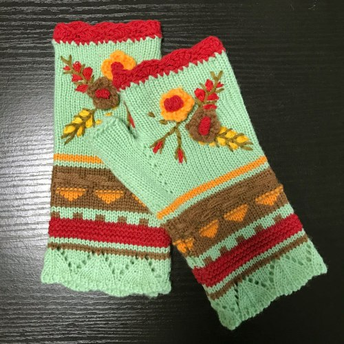 Womens Winter Warm Gloves Casual Flower Knit Fingerless Gloves Handwarmers Glove Mittens Without Fingers Cashmere Mittens