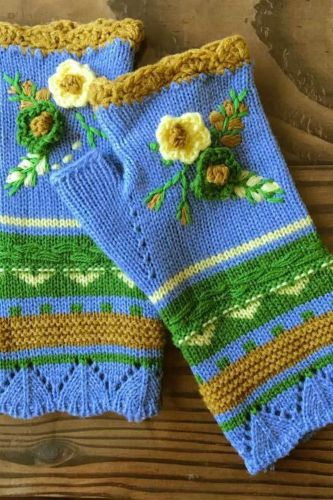 Women Warm Knitting Hand Hook Jacquard Knitted Half-finger Winter Gloves High Quality Mittens Handmade Flower Embroidery Gloves