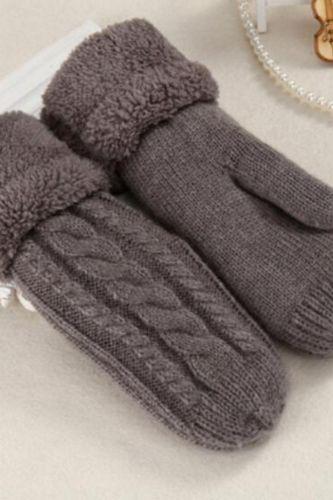 Fashion Women Twist Flowers Wool Knit MittensUnisex Double Thicken Plus Velvet Full Finger Cashmere Warm Driving Mittens L45