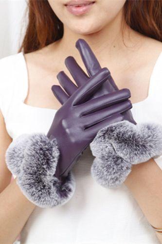 Women Leather Gloves  Sexy Winter Warm PU Leather Gloves Lady Thermal Fur Leather Gloves