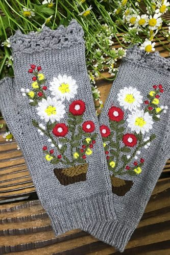 Fashion Womens Autumn Knitted Handmade Embroidery Gloves Embroidered Sun Flowers Mid Long Half Finger Warm Wool Winter Gloves