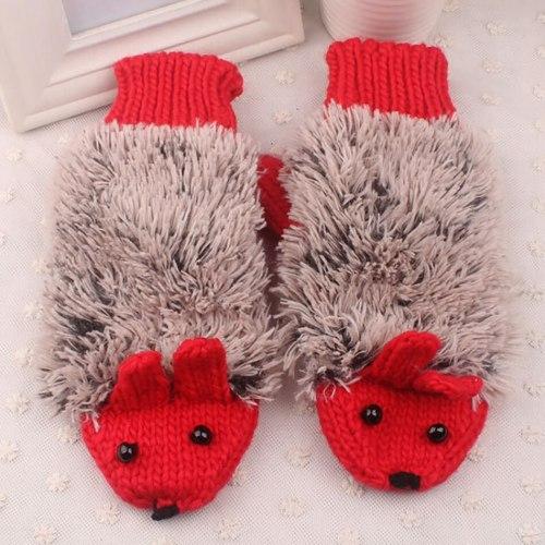 2021 New Child Kids Baby Girls Boys Winter Knitted Gloves Cartoon Warm Mittens Toddlers Outdoor Cartoon Hedgehog Gloves 4-14 Yrs