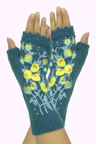 New High Quality Mittens Handmade Women's Autumn Flower Warm Woolen Knitted Winter Gloves Half Finger Embroidery Gloves