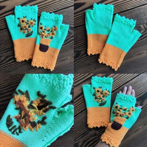 Women Color Block Knitted Fingerless Gloves Daisy Floral Embroidery Arm Warmers Q1QA