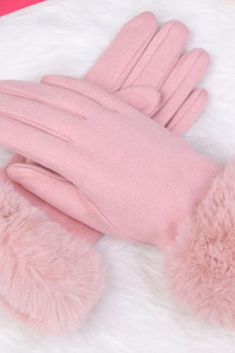 Fashion Women Winter Warm Suede Leather Touch Screen Glove Female Faux Rabit Fur Embroidery Plus velvet thick driving gloves H92