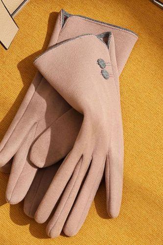 Women Autumn Winter Velvet Cashmere Full Finger Warm Sport Cycling Glove Button Embroidery Touch Screen Driving Mitten F13