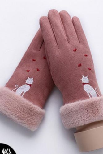 New Winter Female Lace Warm Cashmere Three Ribs Cute Bear Mittens Double thick Plush Wrist Women Touch Screen Driving Gloves 81C