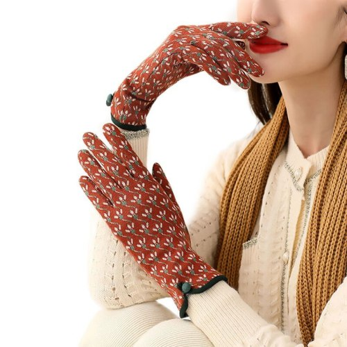 Women Autumn Winter Warm Touch Screen Thin Section Not Bloated Outdoor Cycling Drive Fashion Personality Leopard Elegant Gloves