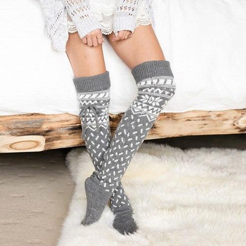 Women Solid Snowflake Socks Over the Knee Socks Girls Warm Winter Inner Socks Floor Socks Snowflake Leg Warmers Santa Crew Socks