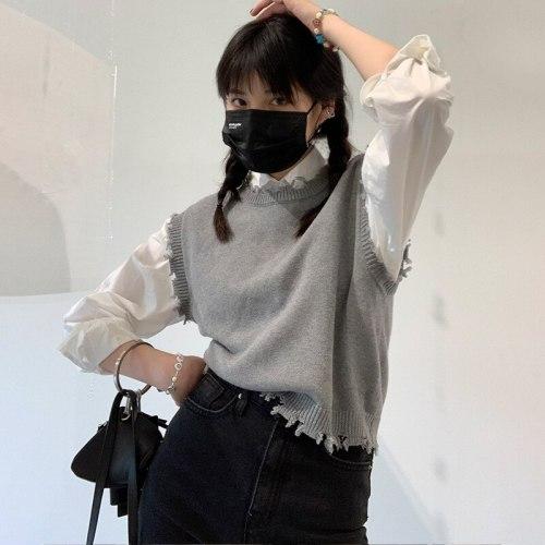 Sweater Vest Tassel O-neck Sleeveless Vintage Knitted Pullover 2021