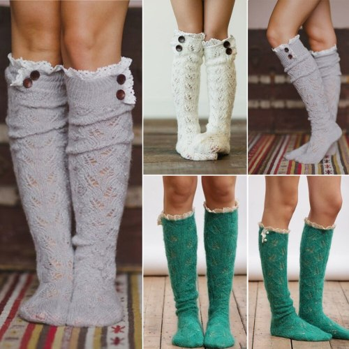 Women Winter Warm Leggings Cable Knitted Over Knee Thigh High Long Boot Stockings Girls Lace Frill Stockings 1Pairs