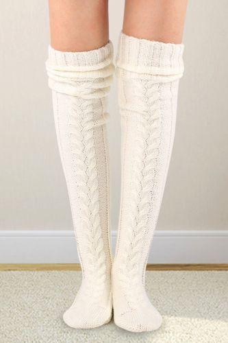 Women Knitted Stockings Plush Velvet Crochet Over knee Long Boot Socks Leg Warmer Autumn Winter Thicken Warm Stockings Pantyhose