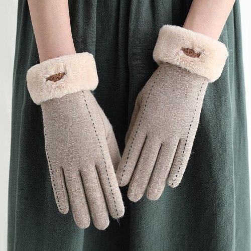 Fashion Women's Winter Gloves Touch Screen Wool Plus Velvet Warm Mittens Women's Winter Outdoor Sport Driving Cycling Cold Glove