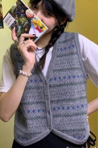 V-neck Ladies Wool Sleeveless Sweater Autumn Loose Jacket Casual Vest Knit Cardigan