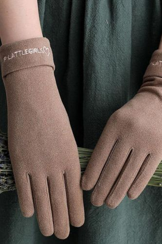 New Women Gloves Autumn And Winter Imitation Rabbit Velvet Keep Warm Touch Screen Thin Female Elegant Style Embroidery S001