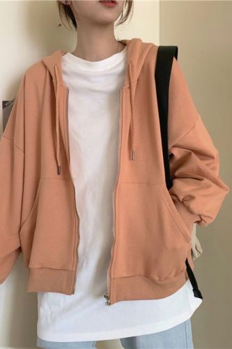 With Hat Hoodies Women Harajuku Vintage Solid Simple All-match Basic Teens Zip-up Outerwear Loose Korean Fashion Womens Hoodie