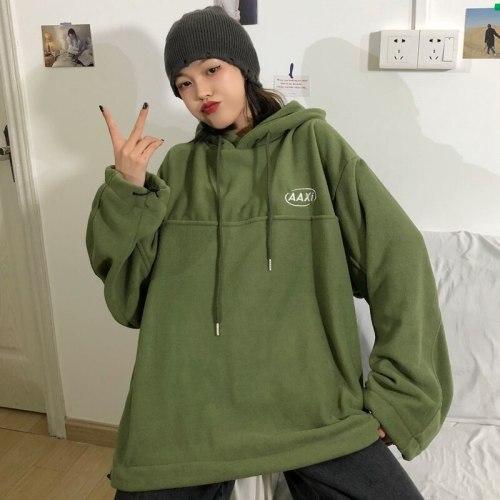 Female Oversized Hoodies Pullovers Hot Sale Letter Long Sleeve Loose Korean Preppy Streetwear Women Thick Sweatshirts