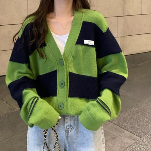 New Knitted Cardigan Women Autumn Winter Oversize Woman Sweaters Ladies V-Neck Warm Coat Long Sleeve jumper Green striped Casual