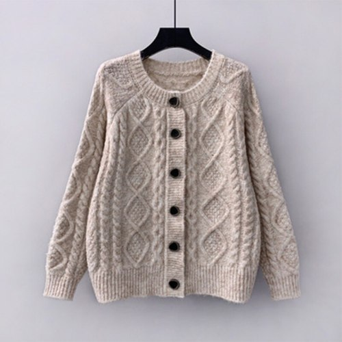 21 New Korean Style Sweater Women Loose Outer Wear Autumn Jacket Linen Pattern Knitted Cardigan Jacket