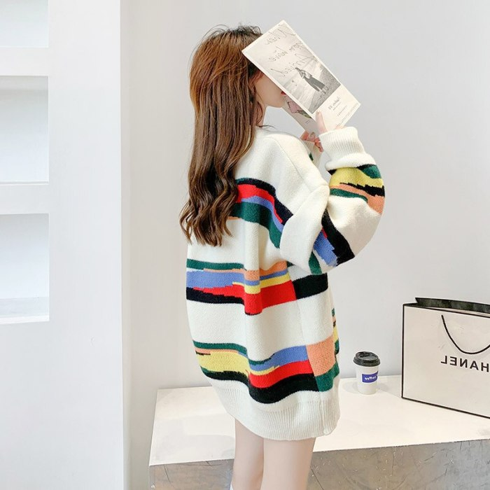 Women's Sweater 2021 New Pullover Sweater Women's Autumn and Winter Loose Striped Korean-Style Colorful Mid-Length Coat