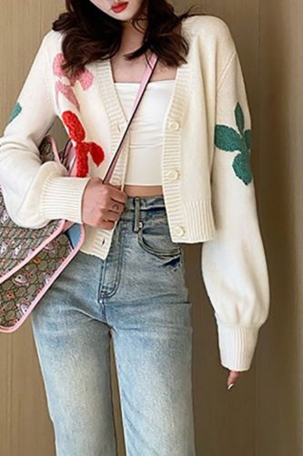 Autumn New Flower Knit Thin Women Sweater Korean V Neck Long Sleeve Sweet Japanese Cardigan Vintage Single Breasted Cardigans