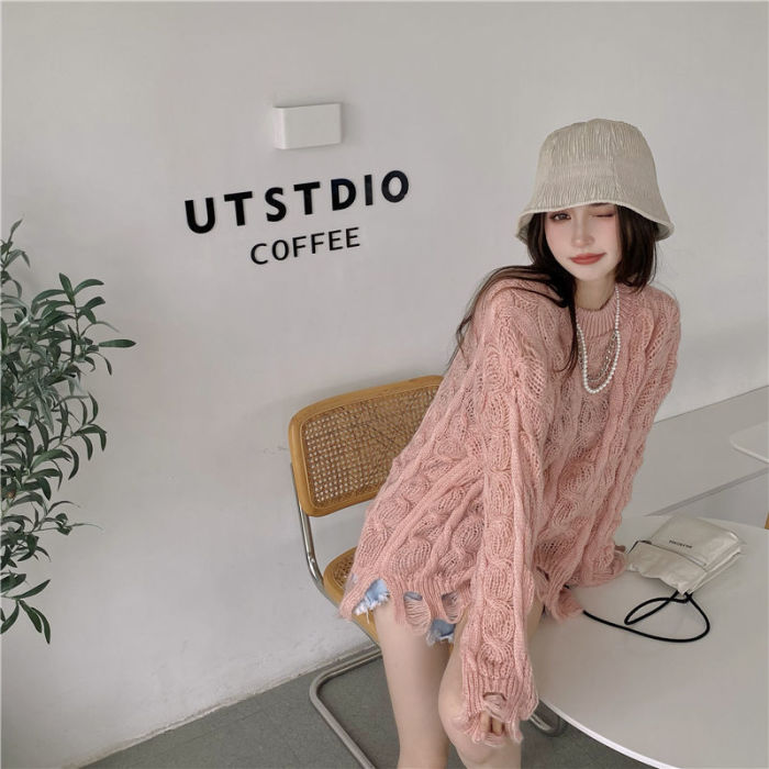 Women Spring Autumn Sweater Hollow Out Pullover O-Neck Long Sleeve Loose Jumper knitwear Lazy Style All=Match Top TT0195