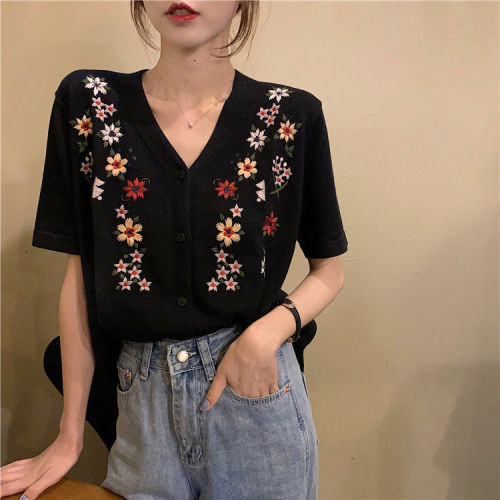Woman TShirts Summer V-neck Embroidery Knitted Cardigan Women's Embroidered Top Crop Top Mujer Camisetas