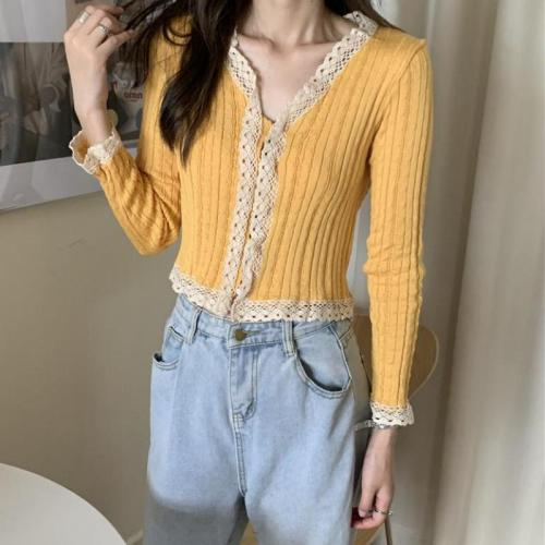 Spring Summer Vintage Women Lace Cardigan Harajuku Korean V Neck Long Sleeve Crop Top Women Knitted Button Up Cardigan Outwear