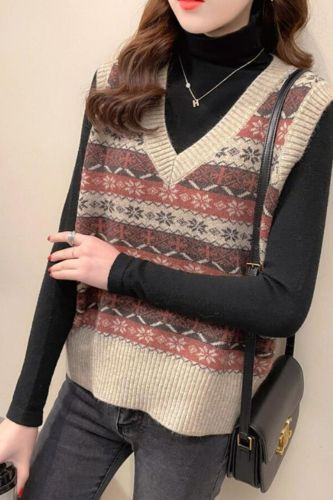 2021 Autumn Winter Women Vintage Knitted Sweater Vest Female V Neck Casual Loose Slim Waistcoat Lady Print Sleeveless Vest L469