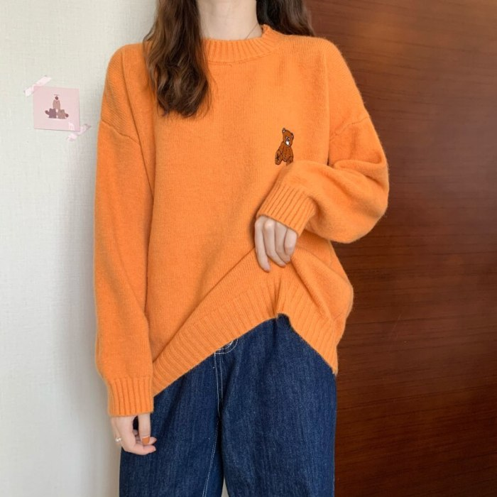 Loose And Lovely Bear Embroidery Pullover Thickened Sweater