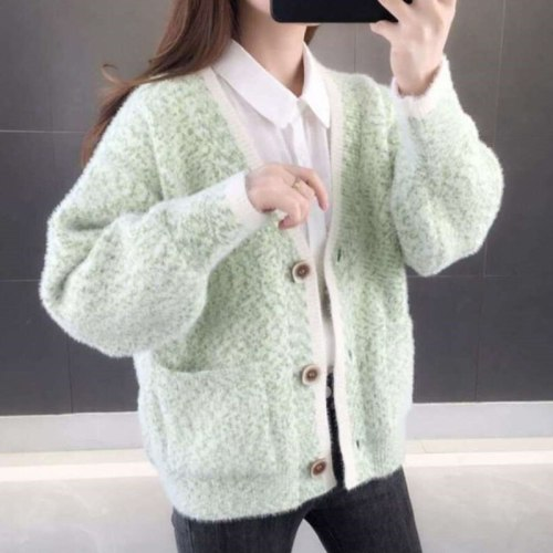 2021 Autumn Winter Knit Cardigan Women Casual All-match Long Sleeve Button Pocket Loose Cardigan  Female Coat Tops