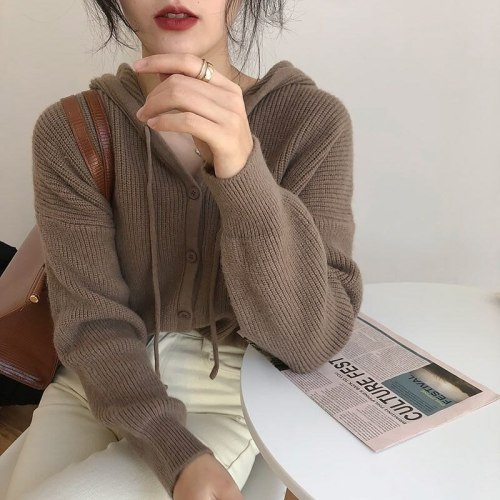 Korean Hooded Knitted Cardigan Women Sweaters 2021 New Loose 7 Colors Casual Knit Sweater Women Cropped Cardigan