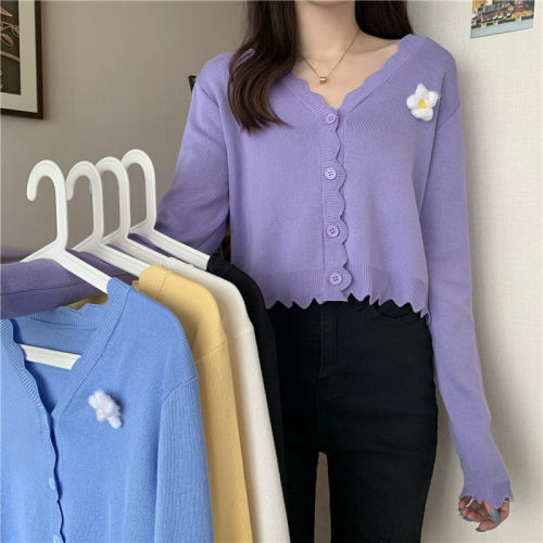 5 Colors New Autumn Women Casual Chic Knitted Short Cardigan Spring Elegant Streetwear Solid Loose Floral V-neck Cute Sweaters