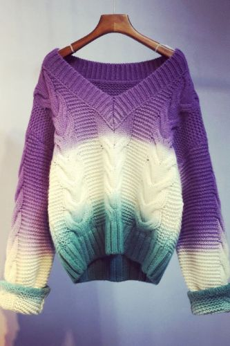Autumn Winter Thickening Oversized Sweater Women Long Sleeve Casual Loose Pullovers Female Cashmere Gradient  Knitted Tops B710